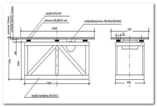 схема изготовления вибрационного стола