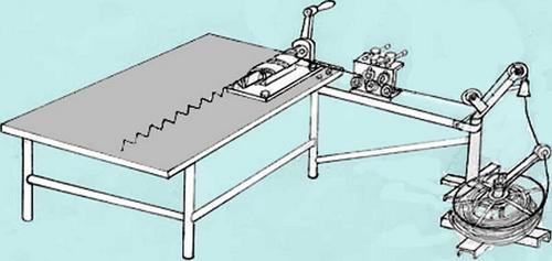 схема станка для изготовления сетки рабицы