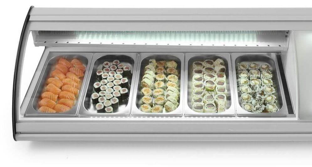 Витрина холодильника для суши